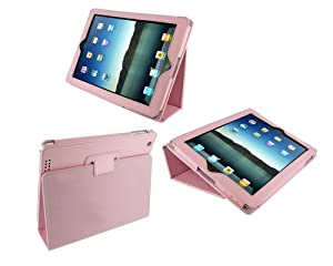 rooCASE Dual Station Premium Leather (Pink) Case Cover with Stand and Hand Strap for Apple iPad 2 / iPad 3 / The new iPad