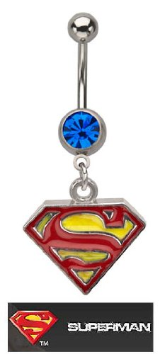 Officially Licensed Dc Comics Superman Shield S Red & yellow dangle Belly navel Ring piercing bar body jewelry 14g