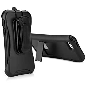BoxWave Dual+ Max Holster Apple iPhone 5 Case - Rugged Hard Shell Case with Kickstand and Belt Clip Holster Combo, Fully Enclosed with Protective Film for 360 Degree Protection - Apple iPhone 5 Cases and Covers (Pitch Black)