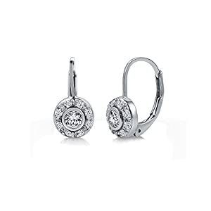 BERRICLE Sterling Silver 925 Cubic Zirconia CZ Small Round Leverback Earrings