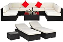 Hot Sale Outsunny Deluxe Outdoor Patio PE Rattan Wicker 10 pc Sofa Sectional / Chaise Lounge Furniture Set
