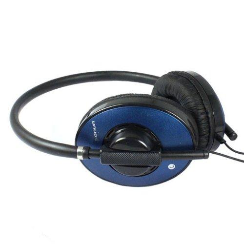 Bestpriceam 3.5Mm Powerful Bass Noise Reduction Microphone Headset For Pc Msn Skype (Dark Blue)