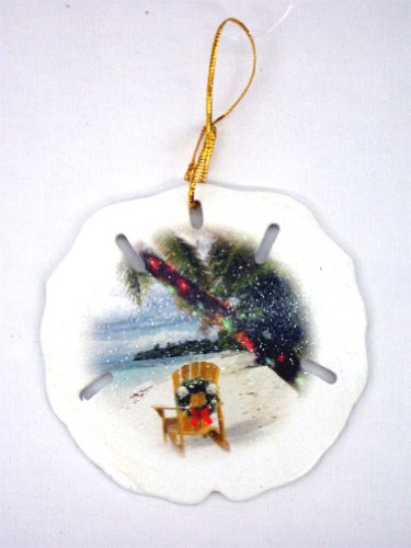 Sand Dollar Ornament - Christmas Beach. Beach Chair Decorated With A Wreath And Palm Tree With Holiday Lights front-404378