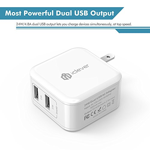 iClever BoostCube 4.8A 24W Dual USB Travel Wall Charger with SmartID Technology, Foldable Plug for iPhone iPad, Samsung Galaxy, HTC Nexus Moto Blackberry, Bluetooth Speaker Headset & Power Bank, White