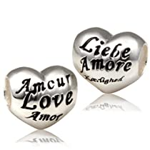 European Charm Bead Sterling Silver Bead Love Heart-Fit All Brands Silver Plated Bracelets Beads Charms