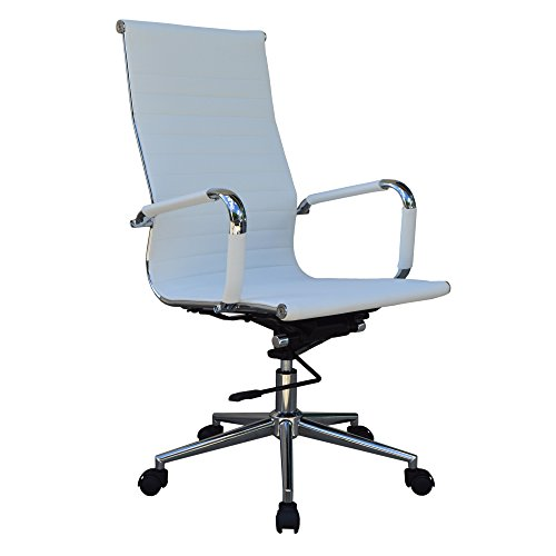 High Back White Ribbed Upholstered Leather Executive Swivel Office Chair (White)