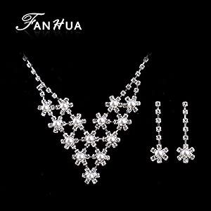 Necklace and Long Dangle Earrings Wedding colares femininos: Jewelry
