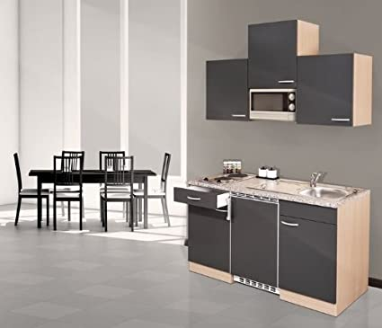 respekta KB 150 BGMIC Fitted Kitchen Imitation Beech with Ceramic Hob 150 cm Grey Including Microwave