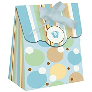 tiny toes blue baby shower party favor mini bags 12 pack