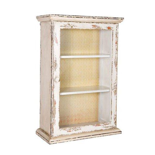 Vintage Holzschrank, Vitrinen Schränkchen, Creme-Weiß, Wandschrank, Hängeschrank mit Glastür