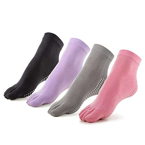 Meaiguo Non Slip Skid Toe Yoga Pilates Barre Socks With Grips Cotton for Women 4 Pack