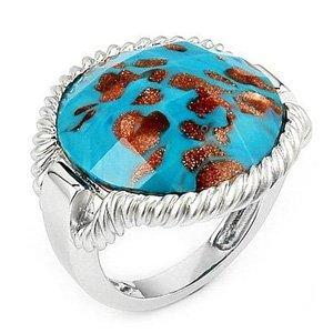 Sterling Silver, Turquoise & Copper Colored Millefiori Murano Glass Ring