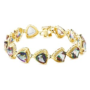 10k Yellow Gold Trillion Cut Coated Mystic Topaz Bracelet, 7 1/8