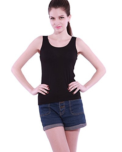 MODAL Womens Round Neck Built-in Bra Padded Sleeveless Tank Top (Padded Bra Tank Top compare prices)