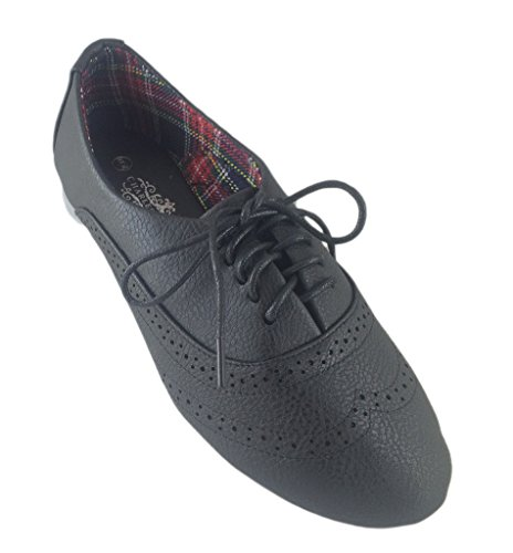 Charles Albert Women's Classic Dress Vintage Look Wingtip Oxford Brogues Flat-Black-7