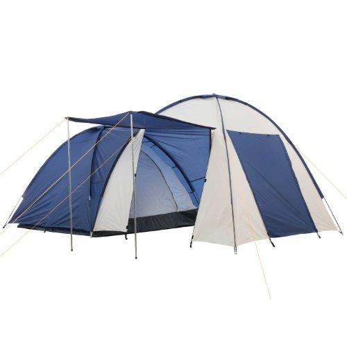 CampFeuer-Kuppelzelt-mit-grossem-Vorbau-4-Personen-Farbe-BlauCremewei-Camping-Igluzelt