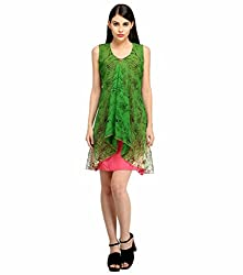 Snoby Green Multi Printed Shift Dress (SBY_6005)