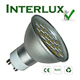 (400 lumen) InterluxTM GU10 Brilliant White Downlight; High efficiency LED; Much Brighter than many other 5 watt, 6 watt & 7 watt LED bulbs.by Interlux