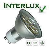 (400 lumen) InterluxTM GU10 Brilliant White Downlight; High efficiency LED; Much Brighter than many other 5 watt, 6 watt & 7 watt LED bulbs.by Interlux