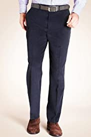 Pure Cotton Flat Front Corduroy Straight Leg Trousers [T18-7455-S]