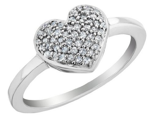 Diamond Heart Promise Ring 1/4 Carat (ctw) in Sterling Silver, Size 6