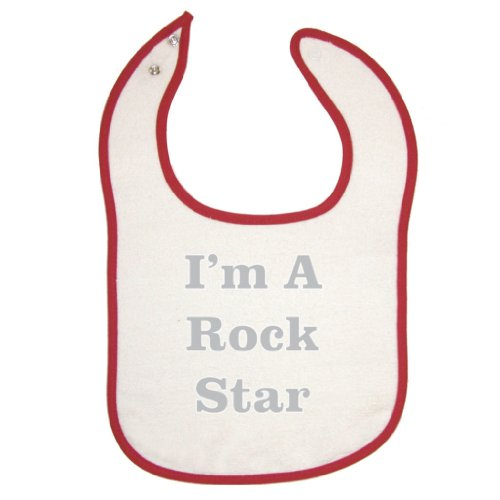 Mashed Clothing Unisex Baby Red Piping Bib - I'M A Rock Star