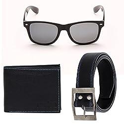 Random 19C Mens Belt, Wallet and Black Wayfarer Sunglass Combo (BlackBlue)(9C10WFWLBTBKBL)