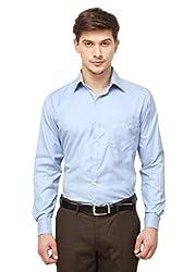 Copperline Plain Blue Slimfit Fullsleeves Cotton Formal Shirts