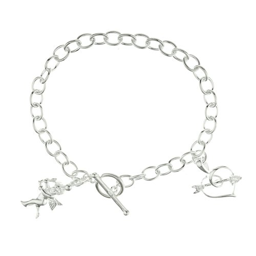 Silver Ladies' Heart &CZ arrow and Cupid charms T-Bar bracelet