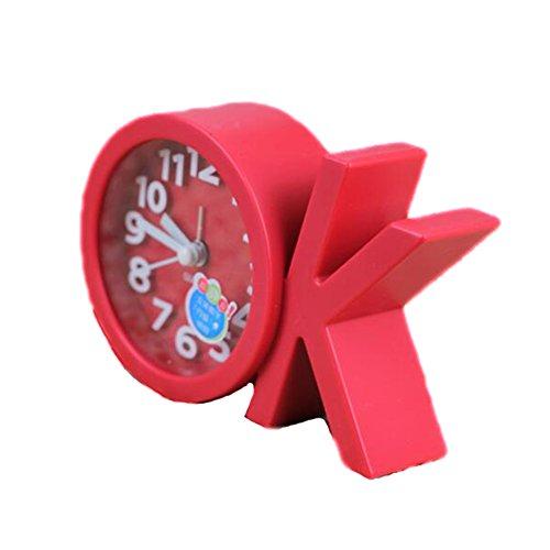 Mini Battery Operated chevet numérique Silent Alarm Clock OK-forme Rouge