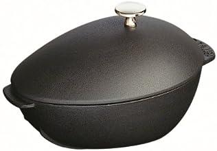 Staub Muscheltopf mit Deckel (25 cm, 2,0 L, induktionsgeeignet mit mattschwarzer Emaillierung im Inneren des Topfes) schwarz
