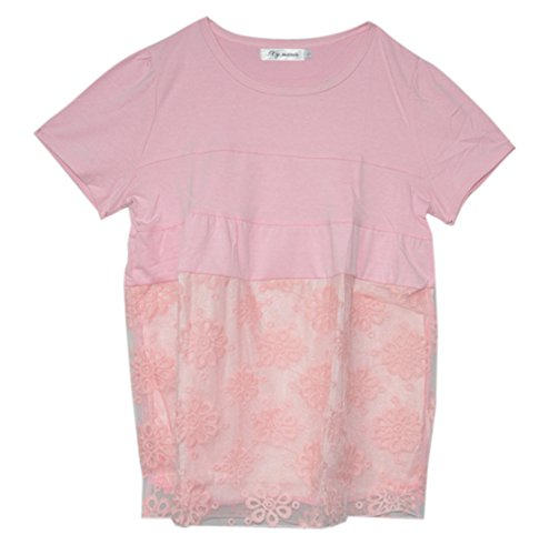 Am Clothes Womens Organza Short Sleeve Maternity Blouses Small Pink front-609872