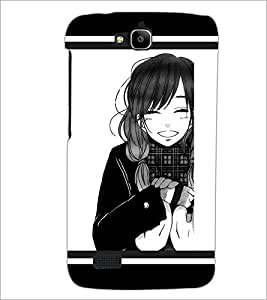PrintDhaba Smiling Girl D-1313 Back Case Cover for HUAWEI HONOR HOLLY (Multi-Coloured)