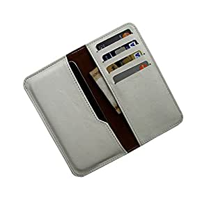 i-KitPit : PU Leather Wallet Flip Pouch Case Cover For Lava Iris 450 Colour (WHITE)