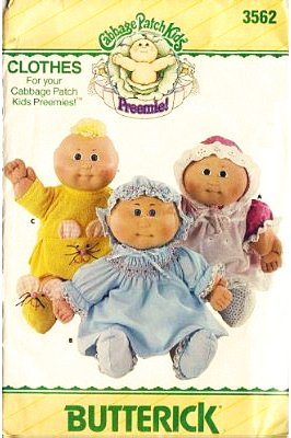 Butterick 3562 Cabbage Patch Kids Preemies Clothes, Dress, Panties, Pinafore, Shoes, Bonnet, Sewing Pattern Vintage front-113230