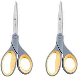 Westcott Titanium Bonded Scissors, Straight-Handle, Pointed Tip, 8-Inch, Gray/Yellow, 2-pack (13901)