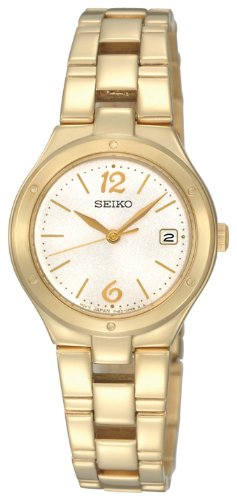 Seiko Ladies Quartz Analogue Watch SXDC50P1 with Gold Plated Bracelet and White Dial