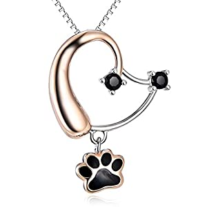 S925 Sterling Silver Rose Gold Cute Puppy Dog Head Paw Pendant Necklace For Ladies Girls