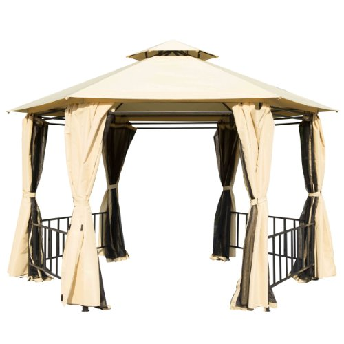 Outsunny Outdoor Hexagon Patio Canopy Party Gazebo w/ Curtains - Tan image