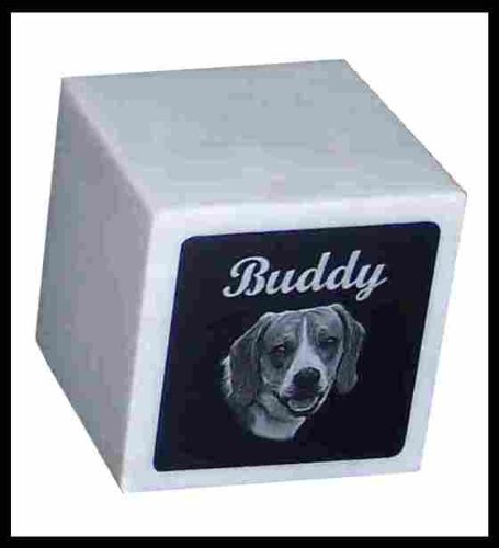 Pet Cremation Cube Urn Custom Photo Marker Dog -- for Pets up to 55 Lbs.