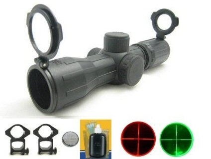 Ultimate Arms Gear Rubber Armor Coated 4X30 Mm Dual Red & Green Illuminated P4 Mil Dot Reticle Rifle Hunting Snipertactical Compact Scope +See Thru Flip Up Lens Caps, Ring Mounts, Battery & Lens Cleaning Kit