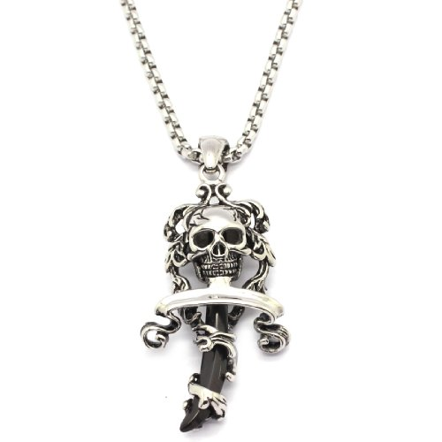 2 PIECE SET: Vintage 19-Inch Stainless Steel Rolo Chain Necklace With Skull & Black Sword Shaped Pendant (LIFETIME WARRANTY)
