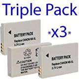 Premium Quality -Triple Pack- 3x High Power Plus+ NB-5L NB5L 2 Year Warranty Replacement Lithium Li-on Digital Camera Battery for Canon :- Digital IXUS 90 IS, Digital IXUS 800 IS, IXUS 850 IS, IXUS 860 IS, IXUS 870 IS, IXUS 950 IS, IXUS 960 IS, IXUS 980