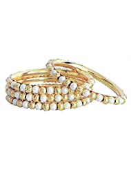 DollsofIndia Set Of Four Golden And White Bead Bangles - Beads And Metal - White, Golden