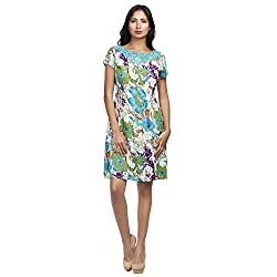 MansiCollections Women's A-line Green Dress (X-Small)
