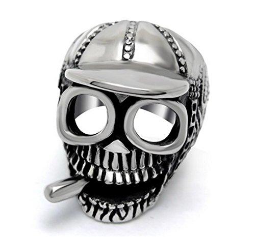 PSRINGS Biker Flame Skull Skeleton Rings 316 Stainless Steel Heavy Metal Punk Best Friends Religious Smokes Cap Rings 12.0 (Biker Lil Friend compare prices)
