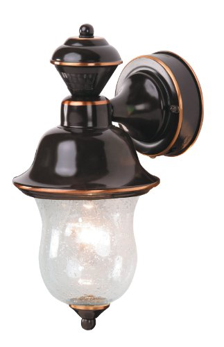 Heath Zenith SL-4171-AC 150-Degree Motion-Activated Napa Style Decorative Lantern with Seeded Glass, Antique Copper