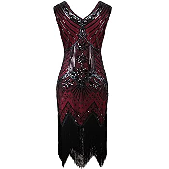 Vijiv Women 1920s Gastby Sequin Art Nouveau Embellished Fringed Flapper Dress