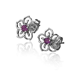 Sterling Silver Amethyst Open Flower Earrings
