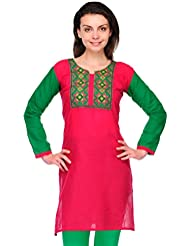 AngelFab Pink Color Cotton Fabric Women's Straight Kurti - B01LEUVFPS